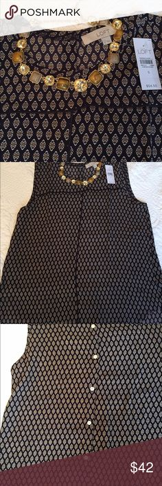 Loft beautiful sleeveless blouse / tunic Loft blouse in navy , creme, and orange. This is perfect under a jacket or by itself. Brand new. It is soft and has piping across chest and down the front of the blouse. Size Small, in plastic from loft. Will fit a size 4/6 per lofts size guidelines. LOFT Tops Blouses