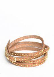 Forever Studded Wrap Bracelet in Tan