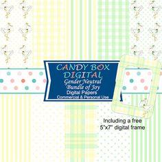 Bundle of Joy Gender Neutral Stork Digital Paper for baby by CandyBoxDigital…