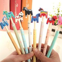 0016 Funny Stationery Pen Cute Horse Head Ball Point Pen Random Color 1PC:)