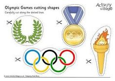 Our Olympic themed shapes have been designed for children to cut out – just for fun, or for sticking somewhere else! We've added dotted lines for younger children. Olympic Games For Kids, Olympic Idea, Activities For Kids, Kids Olympics, Summer Olympics, Olympic Crafts, Olympic Gymnastics, School Themes, Shapes