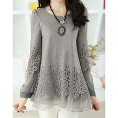 Sweet Scoop Neck Lace Splicing Long Sleeve Women's T-Shirt, GRAY, M in Tees & T-Shirts | DressLily.com
