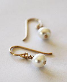 EARRINGS 14k Gold Fill Hook Earrings with White Freshwater Pearls