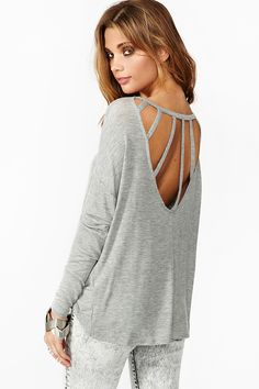 Dolman Strapped Tee in Gray