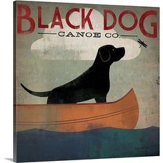 "Found it at Wayfair - ""Black Dog Canoe"" by Ryan Fowler Gallery Graphic Art on Wrapped Canvas"