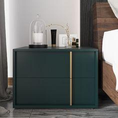 Green Nightstands, Bedroom Dressers, Bedside Drawers, Bedside Tables, Master Bedroom Interior, Gold Bedroom, Bedroom Green, Design Bedroom, Furniture