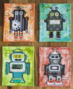 Mixed media robots with found hardware