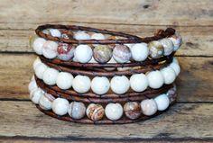Triple Leather Wrap Bracelet Mexican Agate by DesignsByJen1,