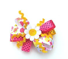 Girls Pink and Yellow Hair Bow Stacked ladybugs by SouthernSister2, $7.00
