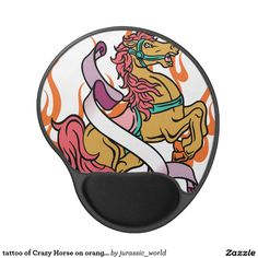 tattoo of Crazy Horse on orange flames Gel Mouse Pad