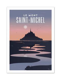 €25 . Affiche Illustration Originale MONT SAINT-MICHEL . Papier 350g/m² Couché Mat
