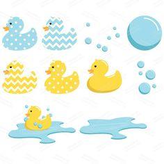 Premium Rubber Duck Clip Art & Digital Paper Set by AmandaIlkov