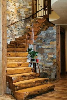 love this whole staircase -- the steps, the shape, and the bricks all..........
