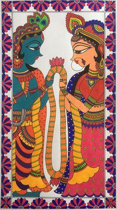 Paintings inspired by Indian folk art like Kalamkari, Madhubani, and Phad. They make colourful and unique wedding invitation cards. Kalamkari Painting, Krishna Painting, Madhubani Painting, Krishna Art, Indian Traditional Paintings, Indian Art Paintings, Fabric Painting, Painting & Drawing, Human Painting