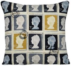 Cushion Pillow Cover Grey Color Square Scatter Vintage Look Fabric First Class Post Stamps Royal Mail: Amazon.co.uk: Kitchen & Home