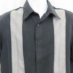 210999de27 Alfani Black Grey Button Up Short Sleeved Bowling Guayabara L Panel Shirt  EUC  Alfani