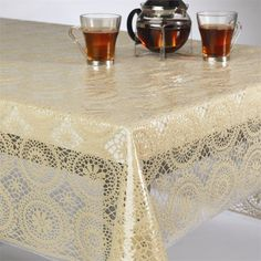 Tablecloth Fabric Pvc Lace White 2wpl137whi