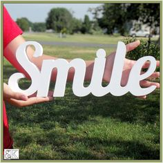 SMILE   Wooden Word Sign Decor  self-standing photo prop by Ostans