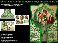 Christmas Reindeer Shaped Gatefold Card Mini Kit on Craftsuprint designed by Mary MacBean - Shaped gatefold card with a cute Christmas reindeer. The kit has 3 sheets which include the card fronts and back, front and back inserts, pyramid layers, message panel for the back of the card and sentiment tags. There are four sentiment tags including a blank one for your own message.  - Now available for download!