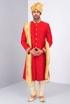 Ekaksh Red Bandgala Achkan with Gold Embroidery on Collar and Sleeves and Gold Tissue Safa and Stole Indian Man, Indian Groom, Groom Wear, Groom Outfit, Indian Fashion, Men Fashion, Moda Indiana, Sherwani Groom, Achkan