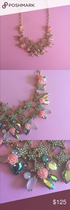 🌈MAKE AN OFFER🌈J Crew Statement Necklace Get ready to receive tons of compliments. Beautiful necklace with shiny stars, intricate flowers, and iridescent stones. Purchased from the 2015 J Crew necklace collection that is no longer available in stores. Make me an offer I can't refuse. J. Crew Jewelry Necklaces