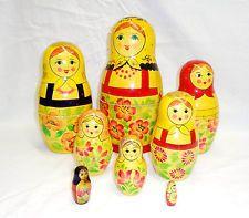 АNTIQUE Russian Nesting Dolls matryoshka folk art wood wooden figures toy