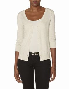 Shoulder Trim V-Neck Cardigan - THELIMITED.com. I love their cardigans, and I could use the oatmeal and black colors.