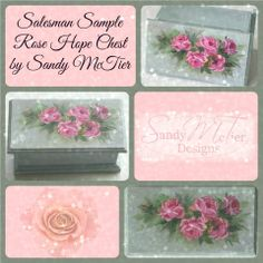 Mini hope chest I purchased at Hobby Lobby - painted with DecoArt Chalky Finish paint and then rose design painted with wOils.  Salesman Sample Rose Hope Chest by Sandy McTier (C)2014  Sandy McTier Designs #chalkyfinish #wOils #sandymctierdesigns #decoart #decoartprojects