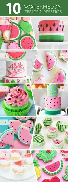 10 Watermelon Treats - cakes, cupcakes, cookies, macarons and desserts for watermelon lovers Watermelon Birthday Parties, Fruit Party, Fruit Birthday, Birthday Ideas, Birthday Cakes For Kids, Sweet Birthday Cake, Birthday Cookies, 2nd Birthday, Cupcakes Decorados