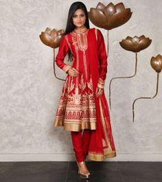 Red & Golden Chanderi Silk Anarkali Suit with Aari Work