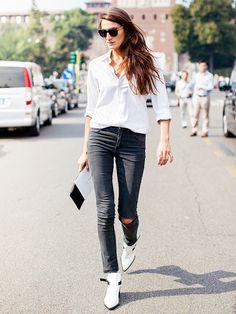 White shirt, denim, white booties.