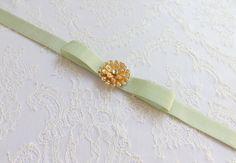 Mint green bow belt. Elastic waist belt. Light green wedding belt. Gold rhinestone flower. Sparkly bridal dress belt. Bridesmaid bow belt. by MissLaceWedding on Etsy
