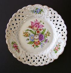 """Von Schierholz Hand Painted Porcelain 8 3 4"""" Plate Dresden Style Flowers Germany 