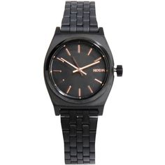 Nixon Wrist Watch ($115) ❤ liked on Polyvore featuring jewelry, watches, black, black jewelry, black watches, kohl jewelry, black stainless steel jewelry and nixon watches