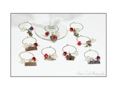 Wine charms drink glass markers tags set of by FriendlyWrenJewelry, $14.00 BLACK FRIDAY SALE 25% OFF COUPON BFS25