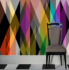 """GEOMETRIC WALLPAPER Colors: MULTI Dimensions: 124""""W (7 WIDTHS OF 17.75"""") Repeat: 118""""""""H  sold at PROPERTY 14 WOOSTER ST. NEW YORK NEW YORK Phone 917-237-0123"""