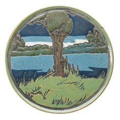 "ALBINA MANGINI | SATURDAY EVENING GIRLS | SEG Pottery |  Rare glazed ceramic trivet decorated in cuerda seca with lake scene, Boston, MA, 1910 Signed AM/11-10/S.E.G. 5 1/2"" dia. Provenance: Collection of Penny Marshall, Los Angeles, CA"