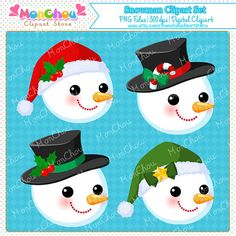 Snowman Clipart Set - For Commercial and Personal Use Cliparts This is a DIGITAL PRODUCT. You will not receive physical product but a digital download zip file containing high quality .PNG Files with transparent background in 300dpi resolution for all your project needs. You will get a set of 12 pieces 300dpi high-quality cliparts in .PNG format with transparent background. This clipart set includes cartoon snowman cliparts and snowman faces cliparts in different costumes. QUICK TERMS OF...