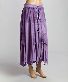 Lavender Lace-Up Peasant Maxi Skirt by Shabri Fashions #zulily #zulilyfinds