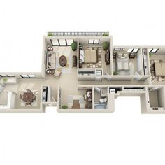3D Floor Plan image 1 for the 3 Bedroom w/ Den Floor Plan of Property Viewpointe Apartments