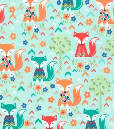 Novelty Cotton Fabric-Sweater Foxes