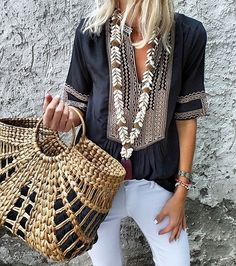 """2,625 Likes, 25 Comments - Anna Skoog (@annamavridis) on Instagram: """"Today's @etoilecoral silk blouse @malabylove necklace @uniqueallure bag #ootd"""""""