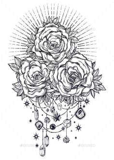 Buy Vintage Floral Rose Flower Stem with Roses by itskatjas on GraphicRiver. Detailed hand drawn rose flower stem with roses and leaves decorated by beads and crystal gemstones in rays of light. Printable Adult Coloring Pages, Coloring Pages To Print, Colouring Pages, Coloring Books, Hanging Beads, Hanging Crystals, Crystal Mandala, Rose Drawing Tattoo, Backpiece Tattoo