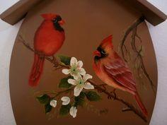 Cardeais - acrílica sobre madeira, pintura de Mary Paiva (Andy) - Livro Painting Garden Birds - de Sherry Nelson.