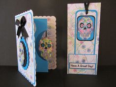 Both of these cards cost very little to make: just some card, a little ribbon and a stamp which is available from: http://stamp-press.com/designers/dette-s/a6-decorate-your-own-sugar-skull-by-dette-s-detail