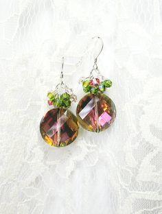 Pink & Green Crystal Earrings - Swarovski Crystals, Silver-plate