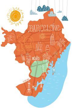 Map Barcelona - Carte Barcelone - Illustration par Mary Birdy