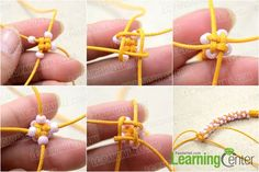Chinese Crown Knot Bracelet with Waxed Cord and Seed Beads