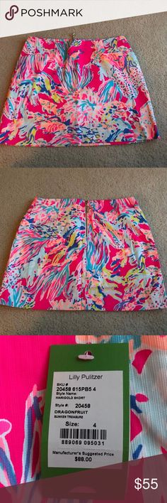 Lilly Pulitzer Skort NWT Size 4 Lilly Pulitzer Marigold Skort in print sunken treasure. Beautiful skort perfect for a summertime wardrobe or a great piece for a vacation! Lilly Pulitzer Shorts Skorts