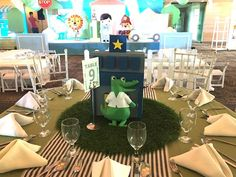 """Mayor Dylan's Charming """"My Own Little Town"""" Themed Party – Table setup Soft Colors, Green Colors, Party Themes, Party Ideas, Striped Table, Pastel Palette, White Balloons, Green Party, Wild Ones"""